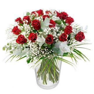 alove roses, ramo de rosas con paniculata y eucalipto