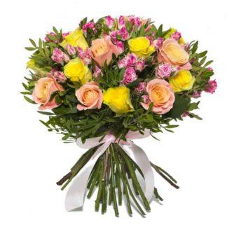 ramo de rosas amarillas con naranjas y rosa pitimini bicolor