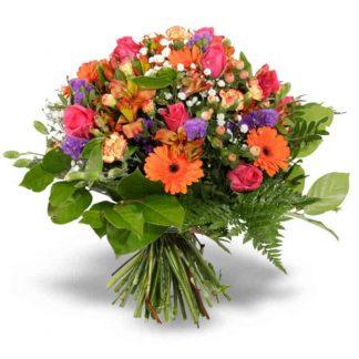 ramo con gerberas naranjaas, alstromelias y rosas