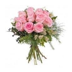 ramo de doce rosas rosadas