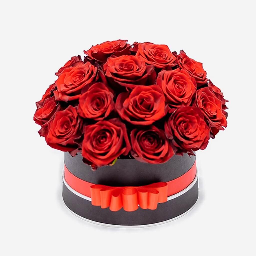 Centro de rosas rojas circular, rosas para san Valentín Madrid, rosas para enamorar, envío de rosas Madrid